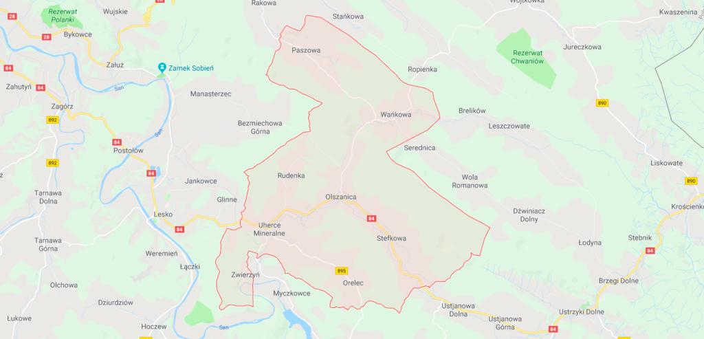 mapa gminy Olszanica